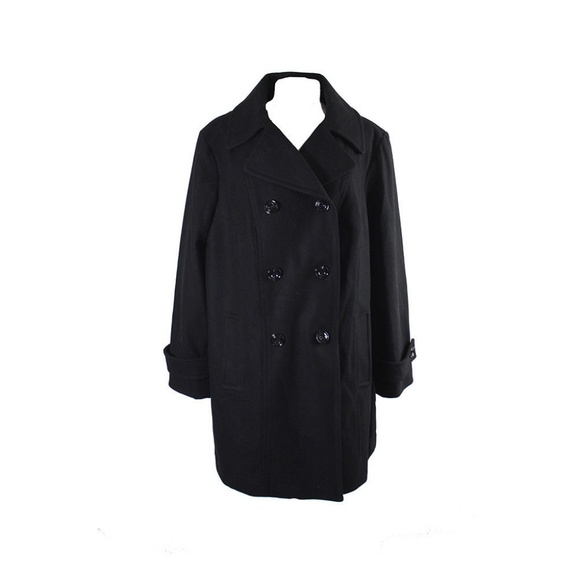 96ffbd4d6f6 Anne Klein Plus Size Black Double-Breasted Peacoat
